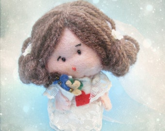 Will you marry me - personalized customized ooak custom love felt doll (bride) made to order for engagement, wedding, valentine, anniversary