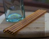 Eco Glass Straws - AMBER glass - Set of 4 Regular Size - Reusable and Eco-Friendly -  Lifetime Guarantee
