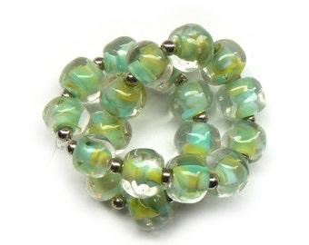 Green Blue Pebble Lampwork Beads - Handmade Lampwork Beads - Set of 20 Beads - Glass, Spacer, Nugget, Striated, Spring - MadeByFire