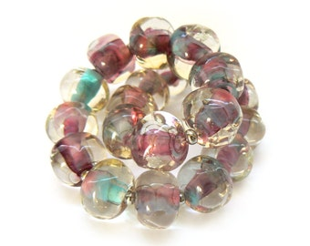 Laila Summer Pebble Lampwork Beads - Handmade Lampwork Beads - Set of 20 Beads - amethyst, blue, pink, nugget, pebble - MadeByFire