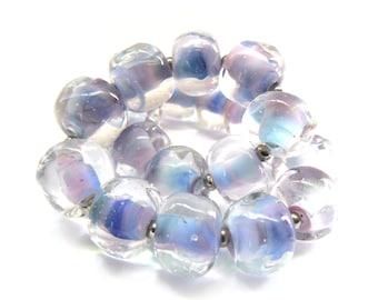 Athena Blue Pink Pebble Lampwork Beadset - Handmade Lampwork Beads - Set of 20 Beads - Nugget, Spacer, Glass Bead, Blue Glass - MadeByFire