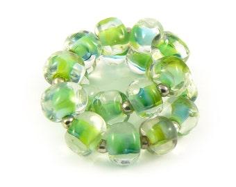 Green Jungle River Lampwork Pebble Beads - Handmade Lampwork Beads - Set of 20 Beads - Nugget, Organic, Forest, Fresh, Spacer - MadeByFire