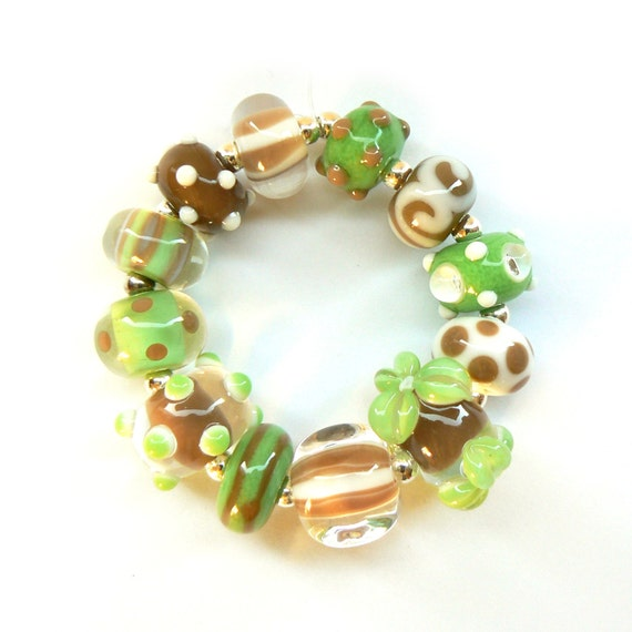 Spring Green and Light Brown Beadset - Handmade Lampwork Beads