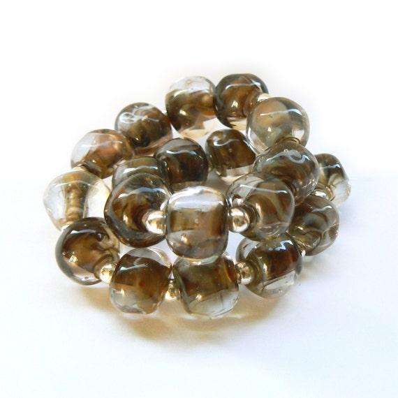 SALE - Brown Pebble Lampwork Bead set - Handmade Lampwork Beads - Set of 20 Beads - Woodland, Bead Sale, Reduced, Destash - MadeByFire
