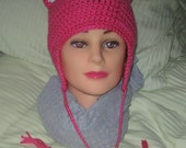 Hot Pink Crochet Cat Hat With White Ears and Beads, Ear Flaps