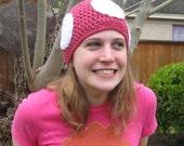Mushroom Hat, Crochet, Toadette, Nintendo, Pink and White