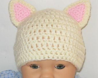 Cream Baby Cat Hat, Crochet
