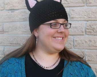 Crochet Cat Hat, Custom Made For You, Kitten Hat, ADULT Size
