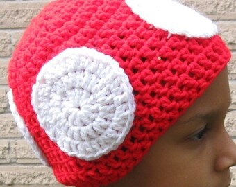 Crochet Super Mario Mushroom Hat, MEDIUM  SIZE, Custom Made For You (18 to 19 inches)