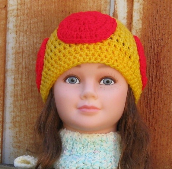 Crochet Mushroom Hat, Yellow and Red, Youth Size