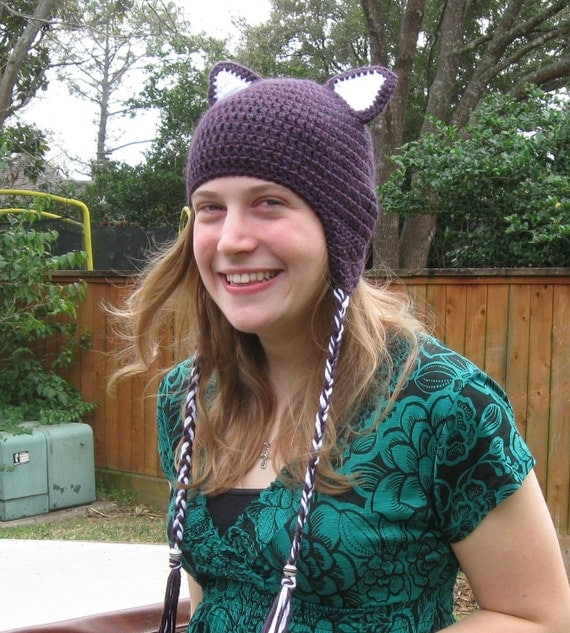 HALLOWEEN orders no longer takenThe Cat's Meow Plum and White Cat Hat,