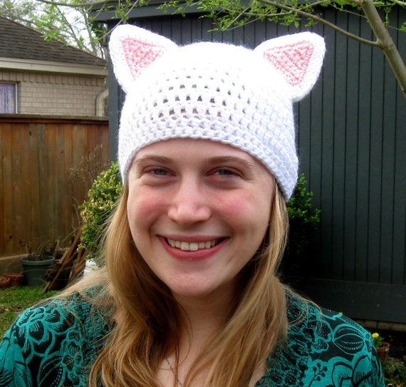 Crochet Adult Size Cat Hat, White and Pink