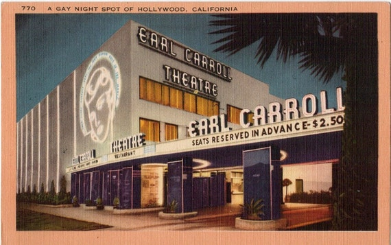 Vintage California Postcard - Earl Carroll Theatre on Sunset Boulevard, Hollywood (Unused)