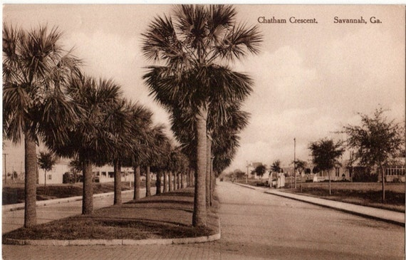 Vintage Georgia Postcard - Chatham Crescent, Savannah (Unused)