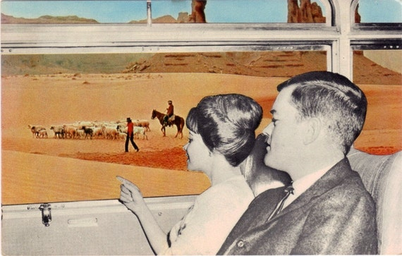 RESERVED for Diane - Vintage Arizona Postcard - Viewing Monument Valley from a Continental Trailways Silver Eagle Bus (Unused)