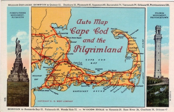 Vintage Cape Cod Postcard - Auto Map of Cape Cod and the Pilgrimland (Unused)