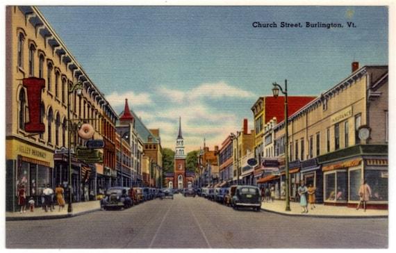 vintage vermont postcard church burlington