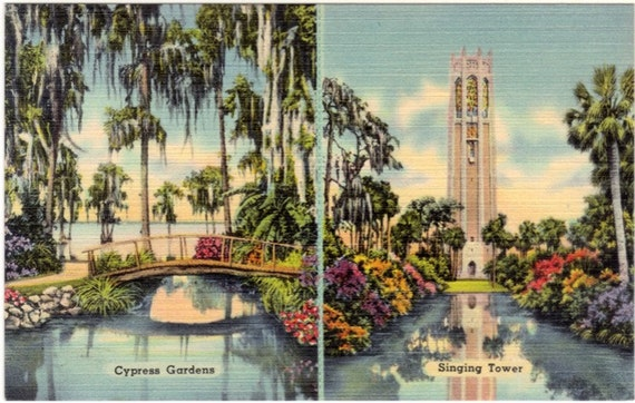 Vintage Florida Postcard - Cypress Gardens, Singing Tower and Map of Central Florida (Unused)