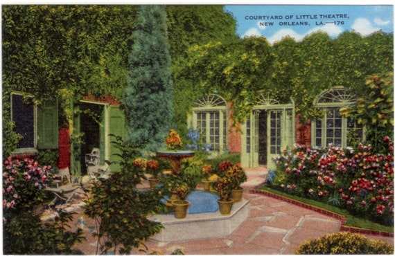Vintage New Orleans Postcard - Courtyard of Le Petit Theatre (Unused)