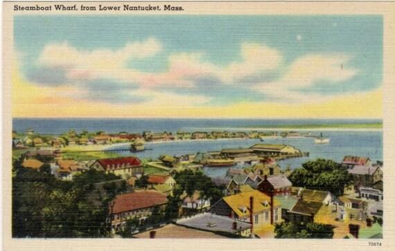 Vintage Nantucket Postcard - Aerial View of Nantucket (Unused)