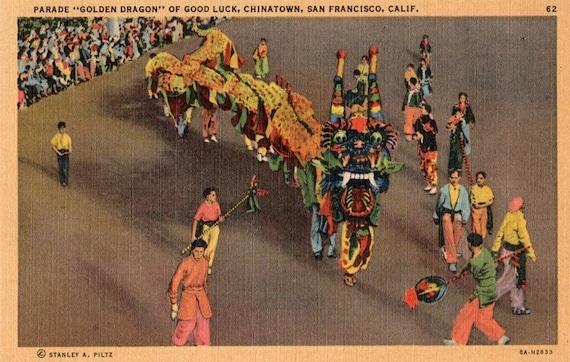 Vintage California Postcard - The Golden Dragon Parade of Good Luck, Chinatown, San Francisco  (Unused)