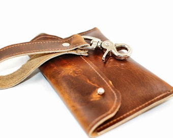 Aged Leather Wallet - Phone Case Distressed Leather Wristlet  - Cognac