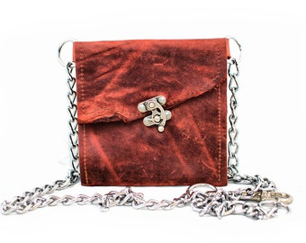 Leather Wallet Waist Pouch - Leather Hip Bag -  Burgundy Red Leather Clubbing Bag with Chain