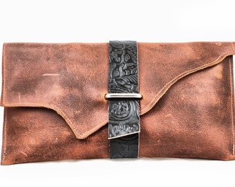 Brown and Black Raw Edge Leather Clutch with Floral Embossed Leather Strap