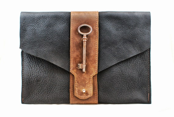 leather clutch - large black and brown equestrian style leather purse - skeleton key steampunk leather oversize clutch