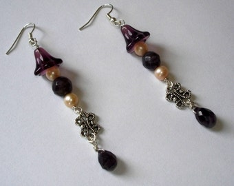 Purple bell flower with the butterfly chandelier earrings