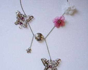 Butterfly Dream Necklace with crystal beads