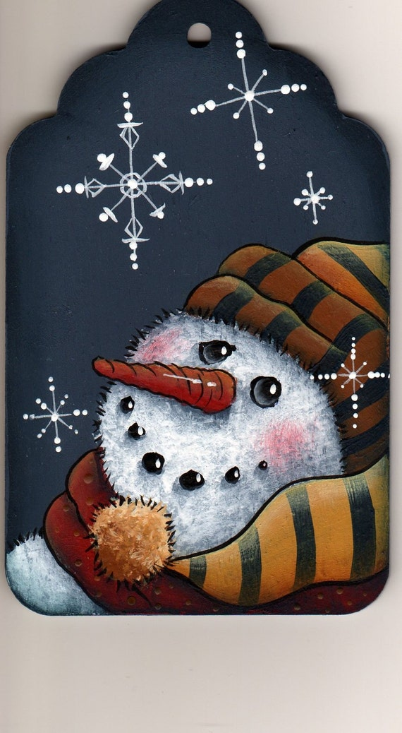 Items similar to snowman snowflakes painting pattern