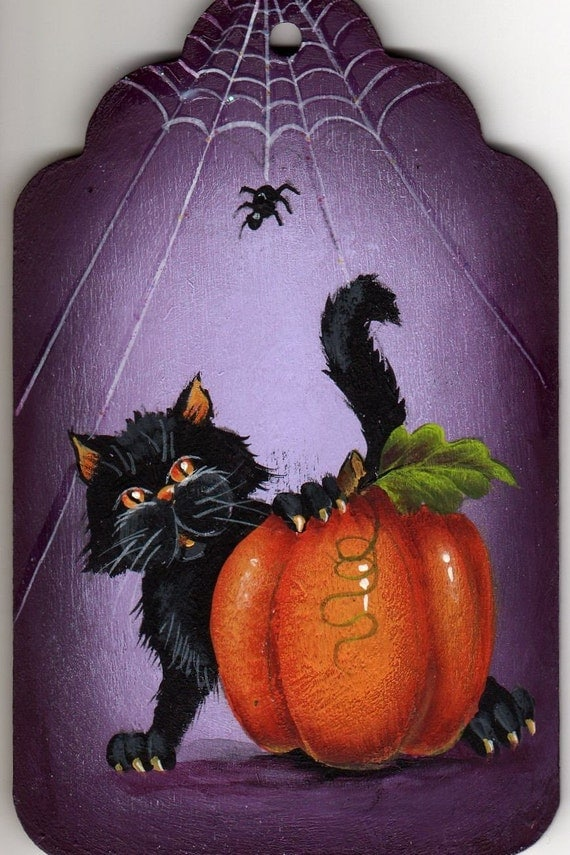 cat pumpkin and spider painting pattern packet