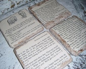 WINNIE THE POOH Coaster Set - Turkish Travertine Stone - Made from actual vintage book pages