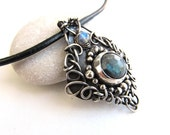 blue black labradorite necklace wire wrapped silver anniejewelry
