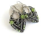 green peridot silver earrings wire wrapped anniejewelry