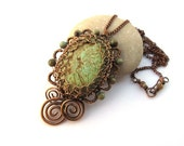 bronze necklace green brown wire wrapped gold turquoise unakite anniejewelry
