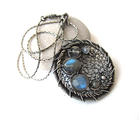 blue labradorite silver necklace wire wrapped