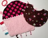 Babies Pink Cupcake Shaped Taggie Blanket Set ON SALE