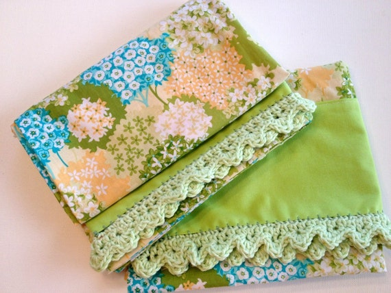 Pretty Pillowcase Set Hydrangea Yellow and Green Handmade