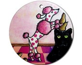 Pink Polka-dots Poodle Piling Pears on a Perplexed Panther Ornament