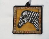 Shabbat Light switch cover mini quilt zebra