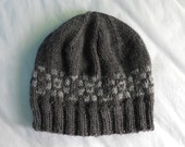 Men's Wool Winter Hat - Charcoal with gray Fair Isle style border