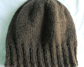 Men's Wool Winter Hat - Dark Brown