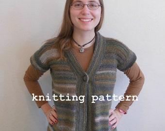 Knitting Pattern PDF - Mossy Drop-shoulder Jacket for Women