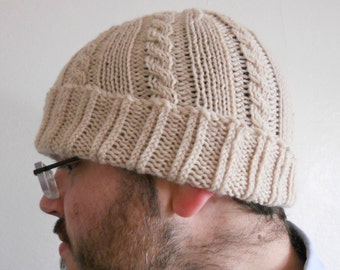 Knitting Pattern PDF - Unisex Cabled Beanie