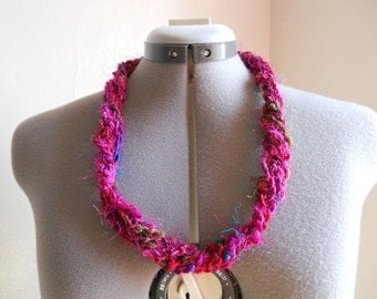 Recycled Sari Silk Crocheted Necklace - Small