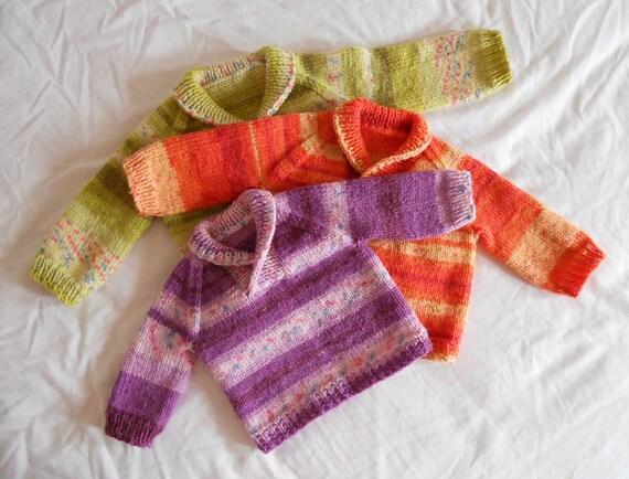 Knitting Pattern PDF - Shawl Collar Baby Pullover in Three Sizes