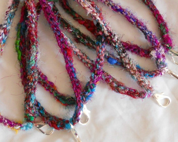 Recycled Sari Silk Double-strand Friendship Bracelets - Set of Two