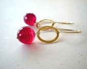 Don't  Forget  About Me - 18k Gold Filled Earrings with fuchsia quartz bead